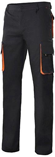 Velilla 103004 - Pantalón multibolsillos (talla 44) color negro y naranja