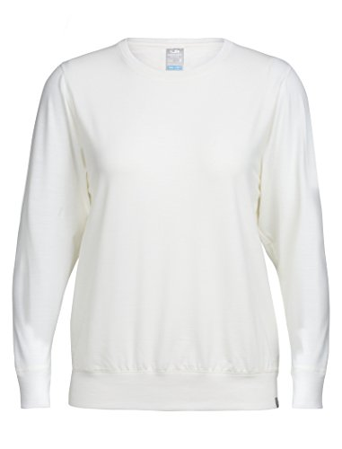 Relaxed Fit-wolle Pullover (Icebreaker Damen Mira LS Crewe Pullover, Snow, L)