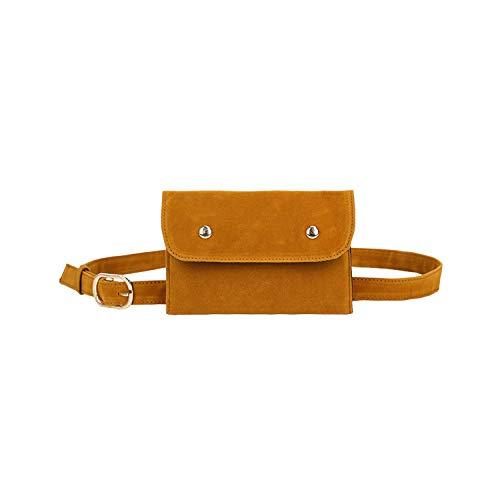 Gürteltasche, Hüfttasche, Elegant Women Pure Color Square Flock Messenger Chest Waist Bag Bucket Bags Leather Handbag Diagonal Bag Shoulder Bag New B (Square Halfter)