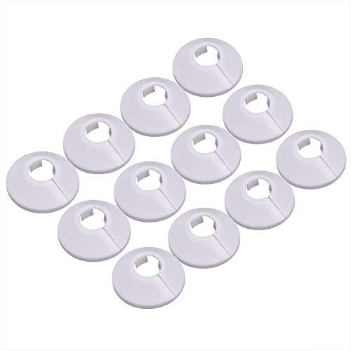 LEEQ 12 Stück Kunststoff Heizkörper Rohr Abdeckungen Rohrmanschetten für 15mm Durchmesser Rohr (weiß)