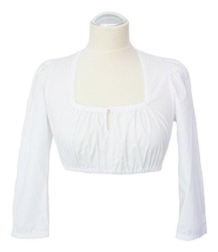 Dirndlbluse Janine Weiß - Bluse mit dreiviertel Ärmeln und Spitze zum Trachten Dirndl für Damen Weiß