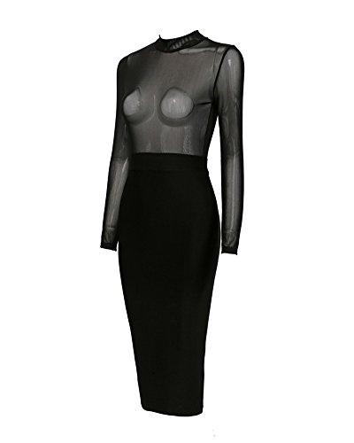 Whoinshop Damen Bleistiftkleid Partykleid Bodycon Figurbetontes Kleider Hochzeit Kleid Langarm Schwarz