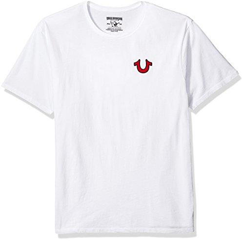True Religion Herren Buddha Logo Crew Neck Tee T-Shirt, weiß, Mittel -