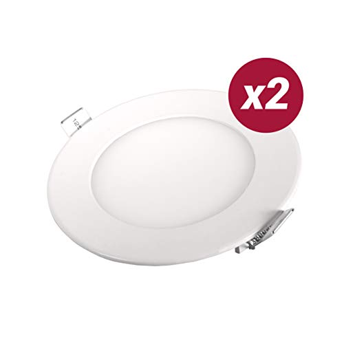 POPP- (Pack x 2 )downlight led Placa LED redondo.6W luz calida chip...