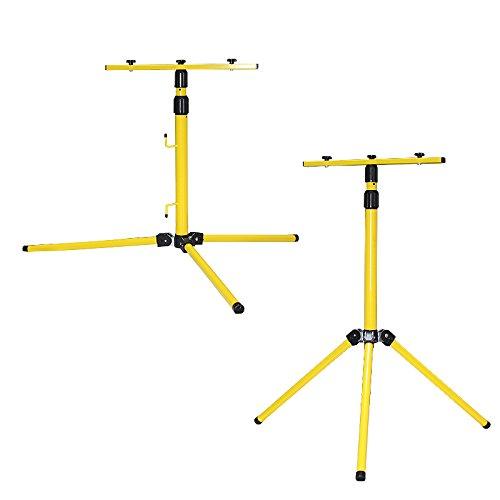 Roilois Teleskop Stativ Strahler Stahlstativ für Baustrahler LED Fluter Arbeitslampe (für 2 Strahler)