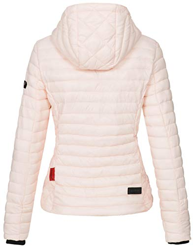 Marikoo Damen Jacke Steppjacke Übergangsjacke mit Kapuze gesteppt B600 [B600-Samt-Rosa-Gr.S] - 4