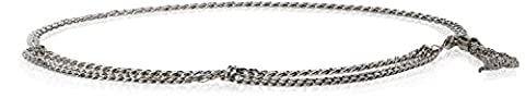 Steve Madden Women's Multi Strand Chain Belt with Tassel Detail, Nickel, Medium/Large