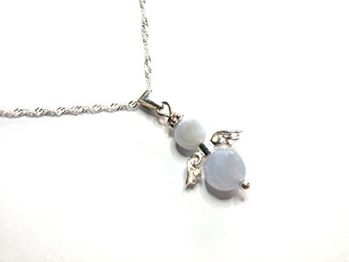 Schutzengel Engel Anhänger Chalcedon hellblau fac./glatt Sterlingsilber 925/-- mit Kette Singapur 45cm Mhorgaines Avalonia