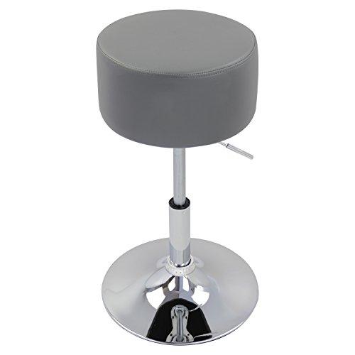 WOLTU BH14gr-1 Design Hocker mit Griff, stufenlose Höhenverstellung, verchromter Stahl, Antirutschgummi, pflegeleichter Kunstleder, gut gepolsterte Sitzfläche, grau