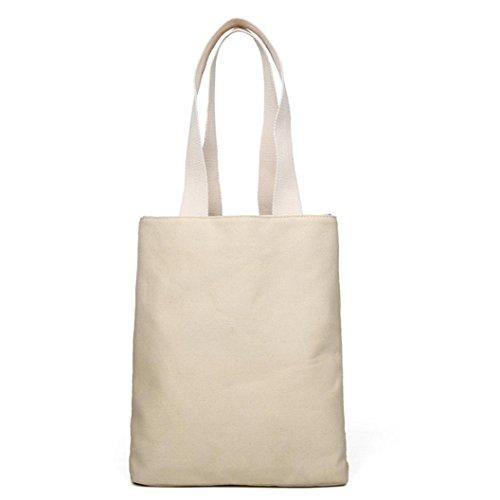 Borsa A Tracolla Canvas, Donna Moda Borsetta Canvas Borsa Grande Tote Signore Borsa Shopping Bag di Kangrunmy Bianca