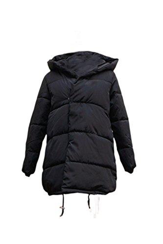 Le Donne Una Manica Lunga Felpa Solido Top Inverno Gli Outwear Con Tasca Black