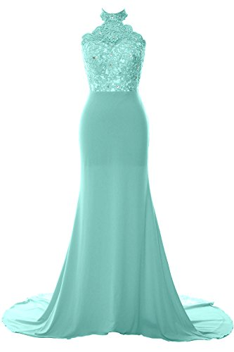 MACloth Women Mermaid Halter Lace Jersey Long Prom Dress Formal Evening Gown Menthe