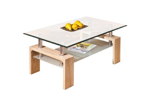 Inter Link 19400020 Couchtisch Glas Sonoma-Eiche Tisch Wohnzimmertisch Beistelltisch 110x6