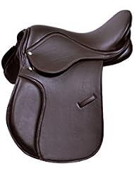 Sintético Propósito general Sillín Premium Quaility Wide Fit, 16, 17y 18Negro y Marrón Tamaño disponible, General Purpose Saddle, marrón