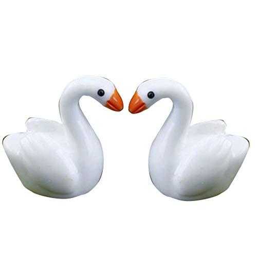 Mengonee White Swan Inicio Miniatura Decoración Animal Modelo de la estatuilla Escritorio Estantería de Bricolaje Ornamento Micro Paisaje