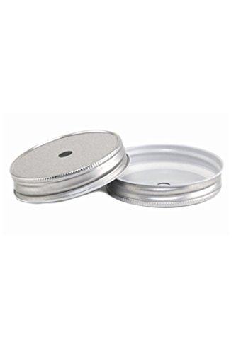 4 Stk. Deckel mit Loch - silber für Ball Mason Jar (Mason Jar Lids-daisy)
