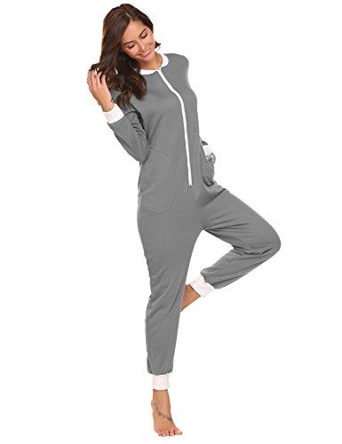 7e15abfe87 Schlafoverall Jumpsuit Damen Overall Pyjama Onesie Einteiler Lang Strampler  Kuschelig Schlafanzug Nachtwäsche Langarmshirt Playsuit mit Reißverschluss