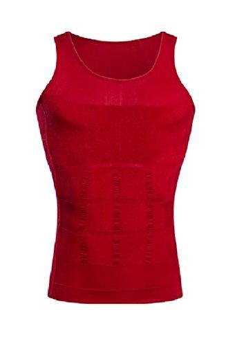 Schlankheits Unterhemd für Männer Gewichtsabnahme Entfernung von Bauchfett Hüftgold Schlankmachender Bodyformer Straffung des Unterbauchs Unterstützung des Rückens Formender Fit, Large Rot