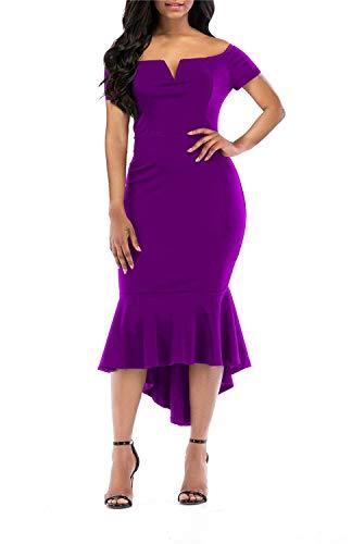 KISSMODA Frauen Casual Kurzarm Sommerkleider Bodycon Mantel Fischschwanz Kleid Lila Medium