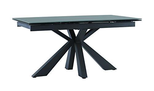 Tavoli Allungabili Con Piede Centrale.Meubletmoi Tavolo Allungabile In Vetro Grigio 160 240 Cm