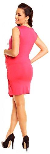 Zeta Ville - maternité - robe jersey de grossesse - robe plissé - femme - 045c Fuchsia