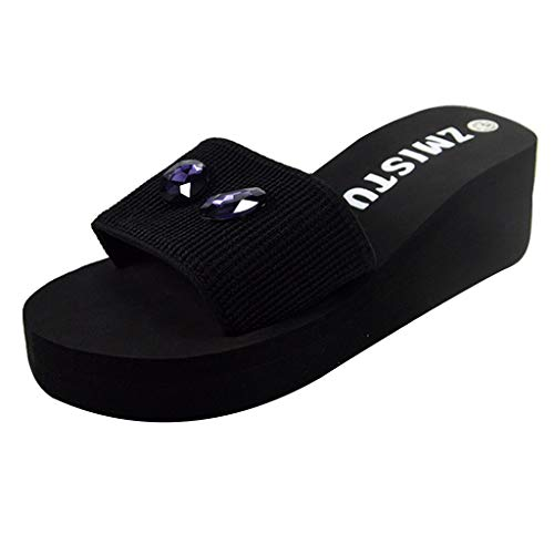COZOCO Frauen Tropical Katzenauge Sandalen Perle Bohrer Wedge Slides Home Bad Strand Flip Flops Schuhe Hausschuhe