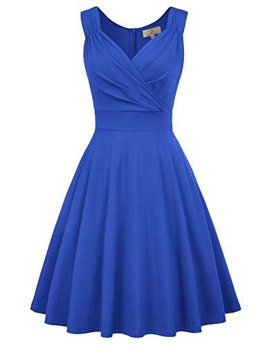 GRACE KARIN Retro Kleid a Linie v Ausschnitt Kleid Damen 50s Kleid a Linie trägerkleider Fashion Kleid, Cl698-6(royalblau), S
