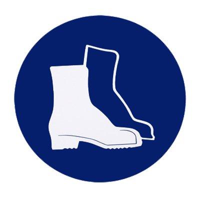"""Gebotszeichen Gebotsschild """" Fußschutz (Sicherheitsschuhe) tragen """" Durchmesser 200 mm Kunststoff #692774"""