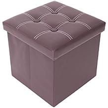 Mobili Rebecca® Baúl Puff Asiento Silla Contenedor Taburete Polipiel Organizador casa Ahorrar espacio 38 x 38 x 38 cm (Cod. RE4920)