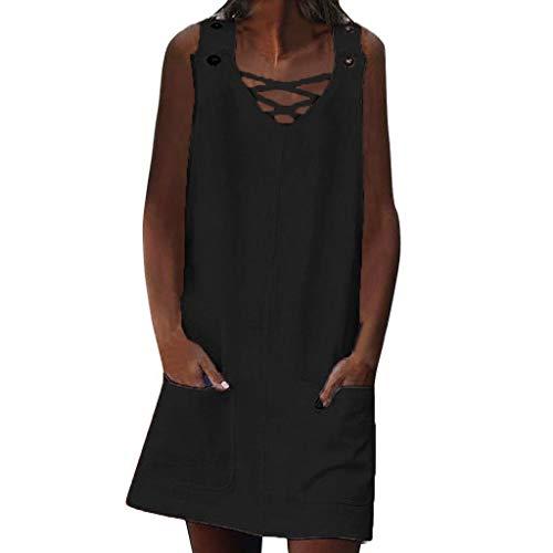 LILIHOT Frauen V-Ausschnitt Sommerkleid Shift Daily Kleid Casual Spleiß Strandkleid Taschen Knopf Plain Cotton Kleider Ärmelloses Beiläufiges Tank Mini Kleid Freizeit Boho Dress (Perlen Shift-kleid)