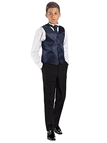 Paisley of London, Boys Navy & Black Suit, Page Boy Suits, Waistcoat Suit, 10-11 years