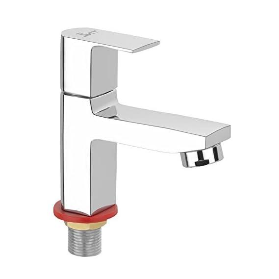 TNL Icon Pillar Cock Basin Tap Kitchen Tap Quarter Turn Brass Bib Cock C.P Fittings Bib Tap for Wash Basin & Sink (Chrome Finish)