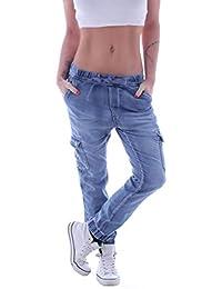 30f7b402c9e7e Damen Cargojeans Cargohose Cargo Jeans Hüftjeans Boyfriend Taschen Stretch