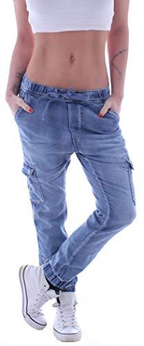 Damen Cargojeans Cargohose Cargo Jeans Hüftjeans Boyfriend Taschen Stretch (Blau, L 40) gr größe Size Baggy baggys baggypants Stretchjeans Boyfriendhose mom Loose fit Cut Aladin haremsjeans pumpjeans