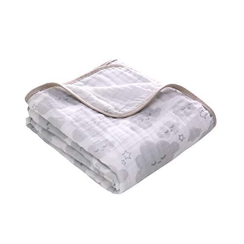 Soft & Cozy Zwei Schichten Musselin Baumwolle Babydecke,Kinderwagen Decke unisex, 100 x 150 cm(Wolke)