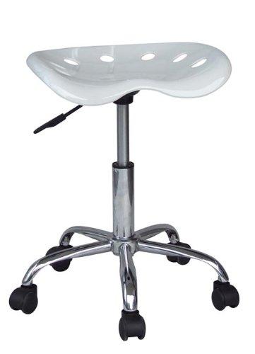 SixBros. Rollhocker Arbeitshocker Hocker Weiß - M-95013187