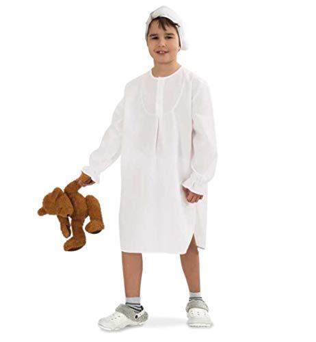 KarnevalsTeufel Kinder-Kostüm Nachthemd, langes Schlafhemd weiß mit passender Mütze (152/164) (Mütze Und Nachthemd)