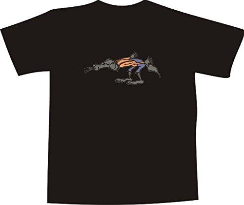 T-Shirt E828 Schönes T-Shirt mit farbigem Brustaufdruck Farbe nach Wahl XXL - Logo / Grafik - Comic Design - böser Wolf pustet im Wald (Wolf T-shir)