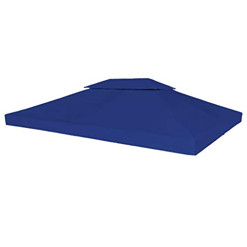 vidaXL Toile Supérieure de Belvédère 2 Niveaux 310 g/m² 4x3 m Bleu Bâche