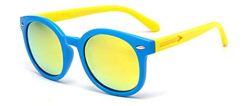 Sonnenbrille Vintage Runde Sunglasse Für Kinder, Schüler, Outdoor Brille Weiche Sicherheitsrahmen Hd Polarized Sonnenbrillen Mit Case Gelb Blau