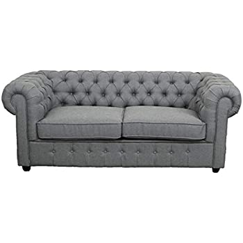 2c15f3a25a02 Chesterfield Grey Linen Fabric Sofa Suite Available as Arm-chair, 2 Seater  and 3 Seater. With Buttons, Low Rolled Back (2 Seater)