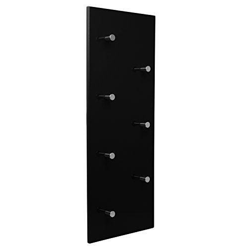 Garderobe Wandgarderobe Hochglanz mit 7 Haken Wandpaneel Flurgarderobe Garderobenpaneel Garderobenleiste (schwarz)
