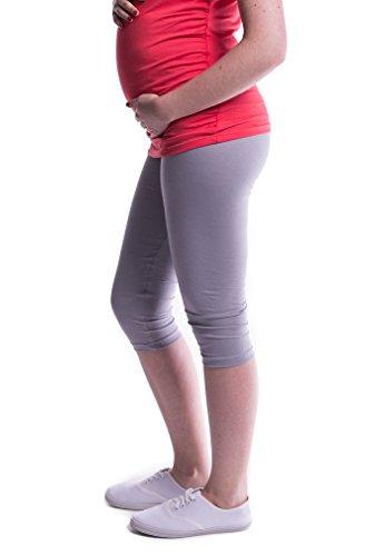 Mija - Oasi - Gute Qualität Umstandsleggings für Schwangere Capri 3/4 Leggings / Hose 3082 (M, Grau) (Baumwolle Capris)
