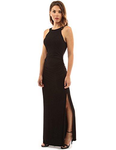 ndhalsausschnitt, ärmelloses Maxi-Kleid mit Seitenschlitz und Rüschen (schwarz 36/S) (Rüschen Auf Kleider)