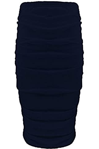 Womens Ladies Plain Stretchy Side Ruched Pencil Tube Bodycon Midi Length Skirt M/L (UK 12/14) Navy