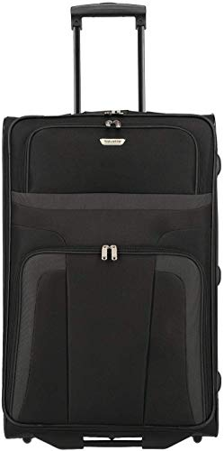 travelite ORLANDO Koffer, Reisetrolley 2-Rad L (73 cm), Schwarz; Rollkoffer große Größe mit Außen- und Innentasche, mit Schloß