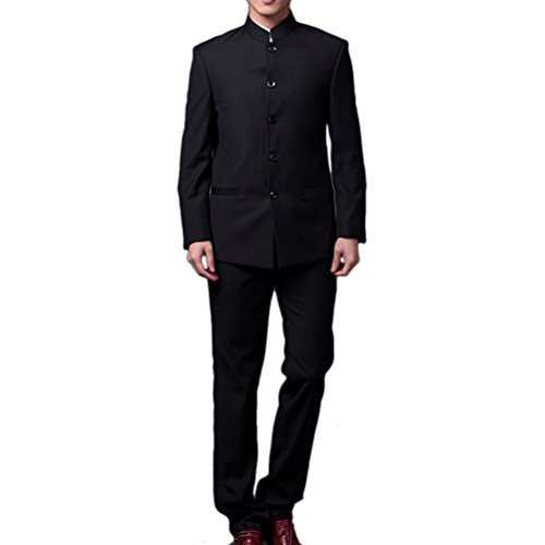 Zhhlaixing Classique Mens 2PCS Chinese Tunic Suit Traditional Uniform Wedding Dress Party Black