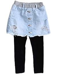d1c574e5aee PanpanBox Fille Leggings Jeans Jupe 2in1 Jeggings Stretch Pantalon Moulant  Collants Déchire Denim Jupe Mini Printemps