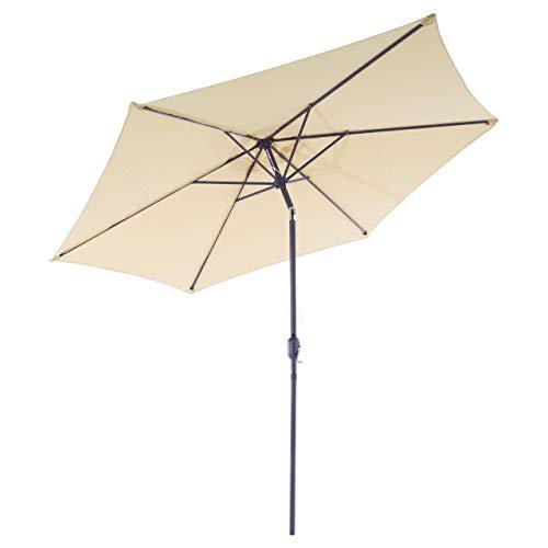 Nexos GM35105 Sonnenschirm Ø 290 cm Stahl Gestell UV Schutz UPF 50+ Gartenschirm Marktschirm mit Kurbel, neigbar Schirmstoff Creme wasserabweisend Höhe 230 cm,