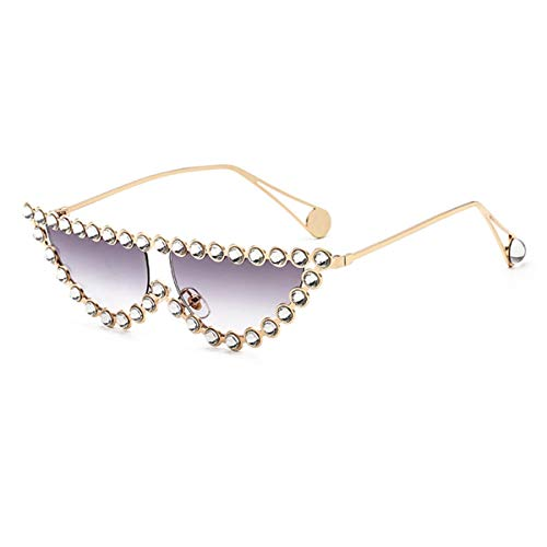 Gafas de sol deportivas, gafas de sol vintage, Luxury Crystal Women Transparent Hot Fashion Sunglasses Rhinestone Rays Italian Cat Eye Sun Glasses Gold Gray